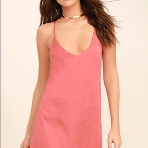 Lulu's Top Pick RosePink Slip Dress